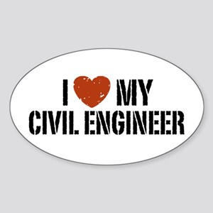 I Love My Civil Engineer Oval Sticker